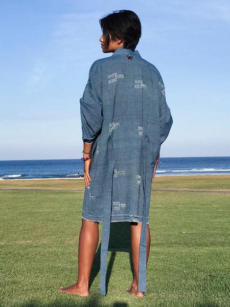 Brooklyn Handcrafted Kimono Wrap - Genderless in Dirty Blue (Midi)