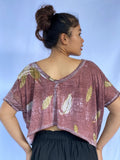 Sari Eco-Print Organic Cotton Cropped Shirt - Falling Leaves
