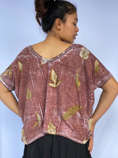 Sari Eco-print Organic Cotton Uncropped Shirt - Falling Leaves