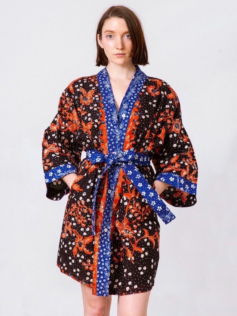 Erlinda Handpainted Heritage Batik Kimono Wrap - Black Orange Meru (Midi)