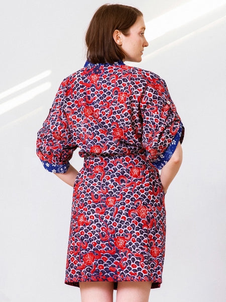 Erlinda Handpainted Heritage Batik Kimono Wrap - Red Blue Waves (Midi)