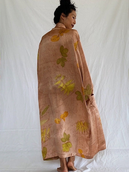 Kikay Eco-Print Silk Kimono Wrap - Autumn Leaves