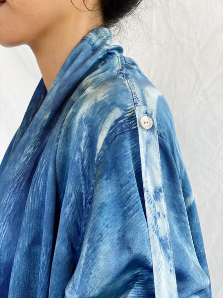 Francisca Palm-Print Silk Kimono Wrap - Hazy Blue (Mini)
