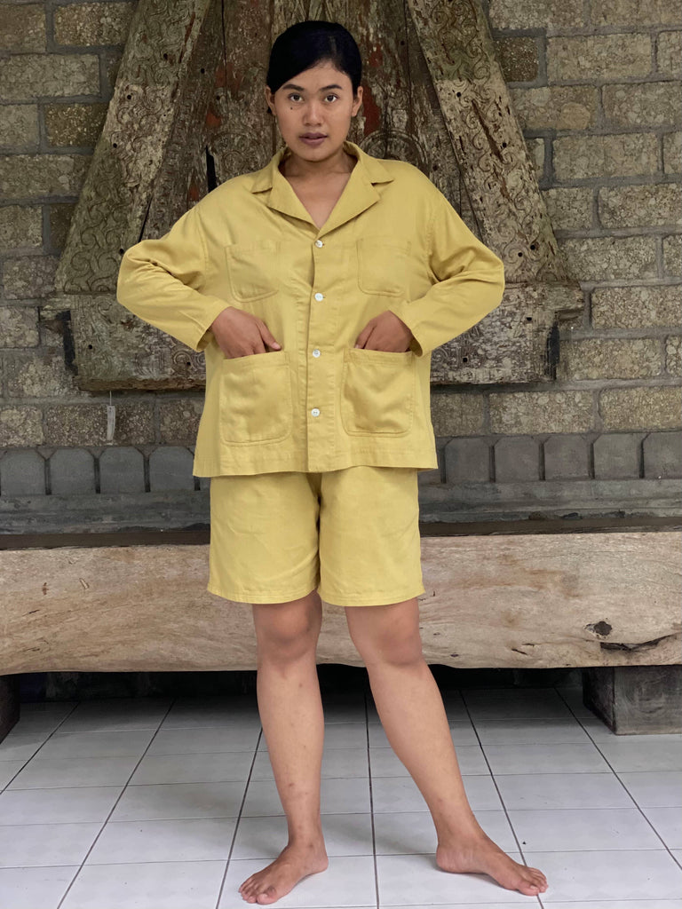 Agnes Organic Cotton Plant Dyed Shorts & Shirt Pajamas