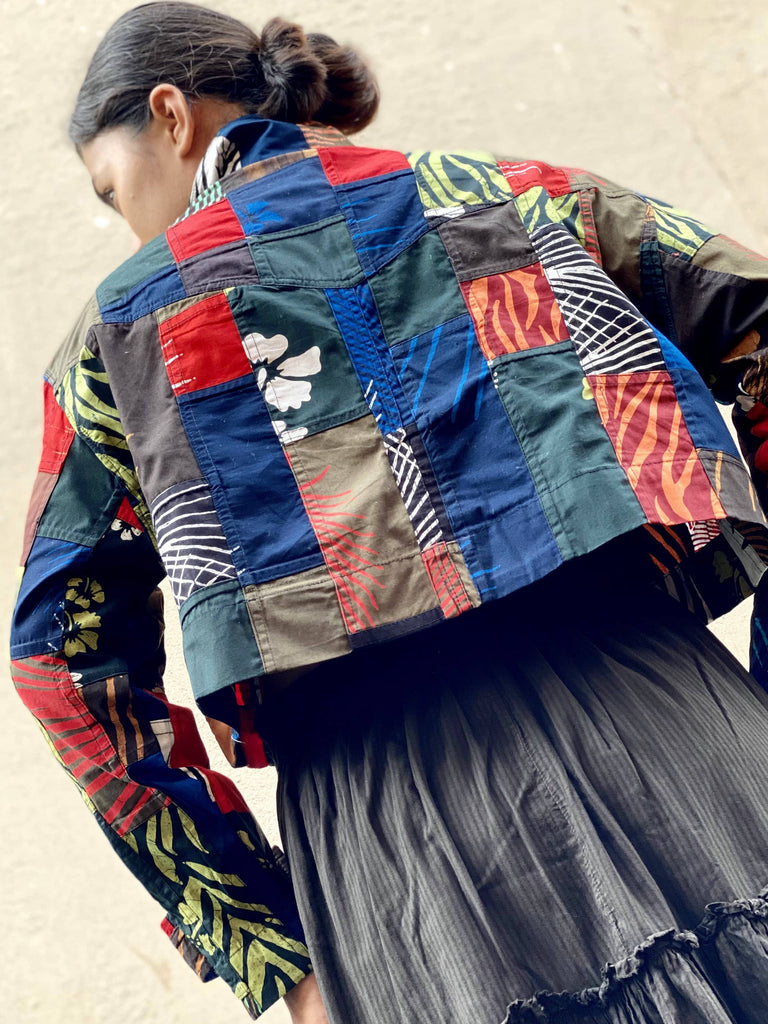 Sarah Upcycled Patchwork Cropped Shacket - Reborn Project