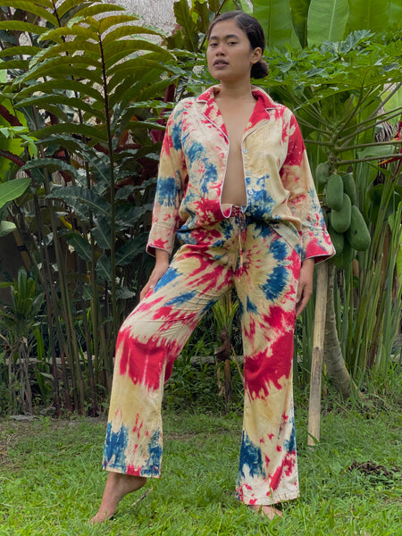 Amanda Plant Dyed Happy Helping Pajamas - Swirl