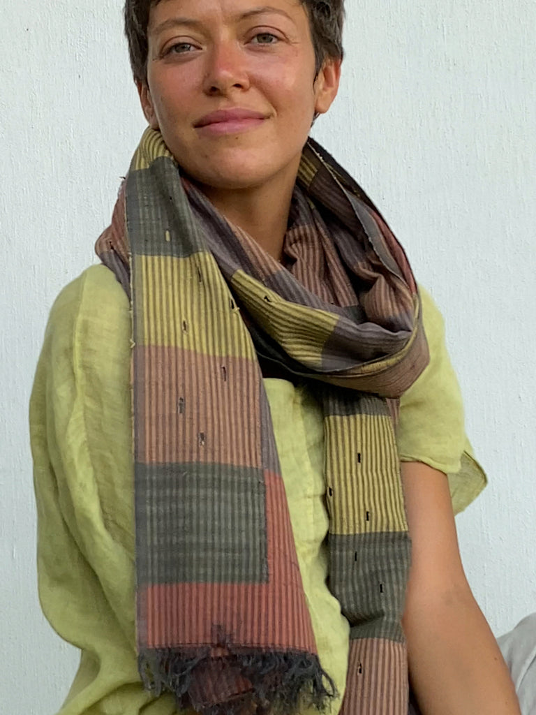 Putu Handwoven Plant Dyed Colorblock Scarf - Hope