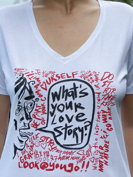 Love Stories Street Art T-Shirt - V Neck