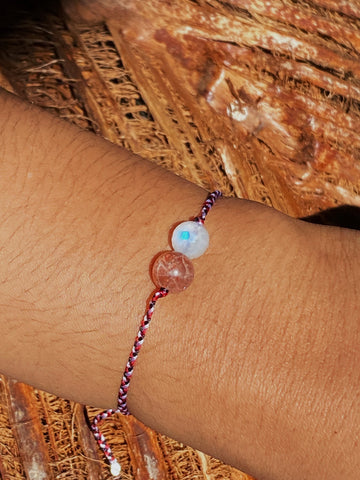 """Tri Datu"" Balinese Protection Bracelet - Moon and Sun Stones"