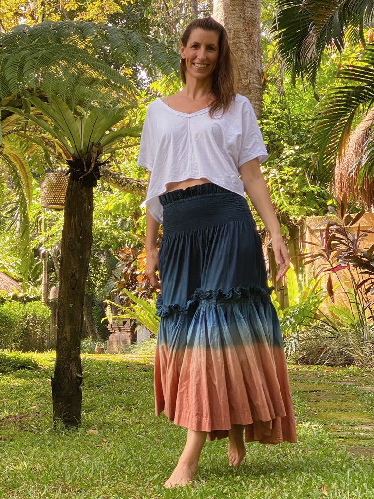Colleen Plant Dyed Organic Cotton Tiered Skirt - Matte Indigo Soil