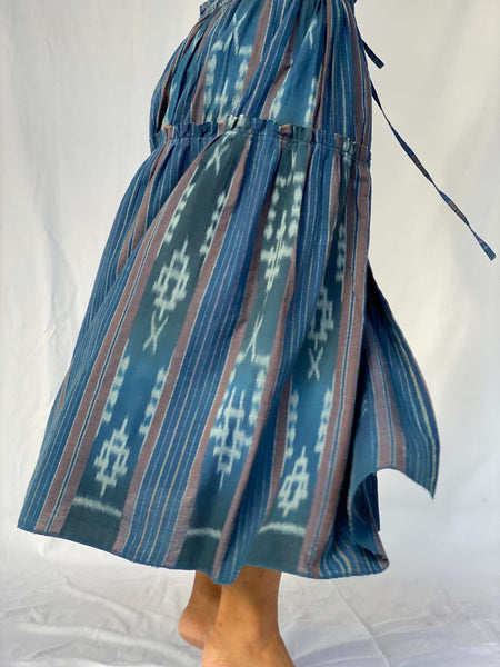 Anika Heritage Ikat Tiered Skirt - Lived-in Indigo