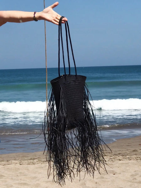 Kathryn Handwoven Plant Dyed Rattan Bag - Muddy Black
