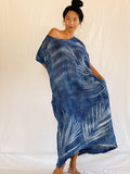 Olia Palm-Print Handcrafted Dress - Yummy Indigo