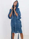 Brooklyn Handcrafted Hooded Kimono Wrap - Genderless in Dirty Blue (Midi)