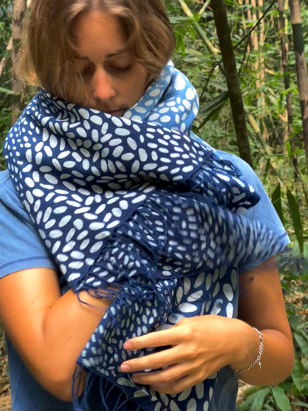 Munti Batik Handpainted Plant Dyed Scarf - Two Hearts