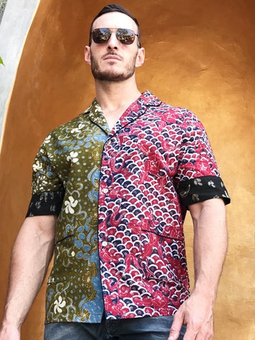 Serafin Heritage Batik Shirt - Green Beets Waves