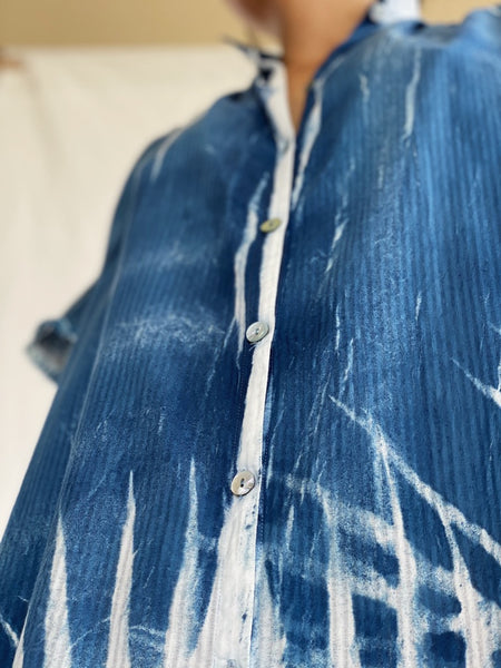 Majesta Palm-Print Organic Cotton Shirt - Yummy Indigo