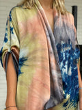Nina Plant Dyed Silk Kimono Wrap - Orange Swirl (Mini)