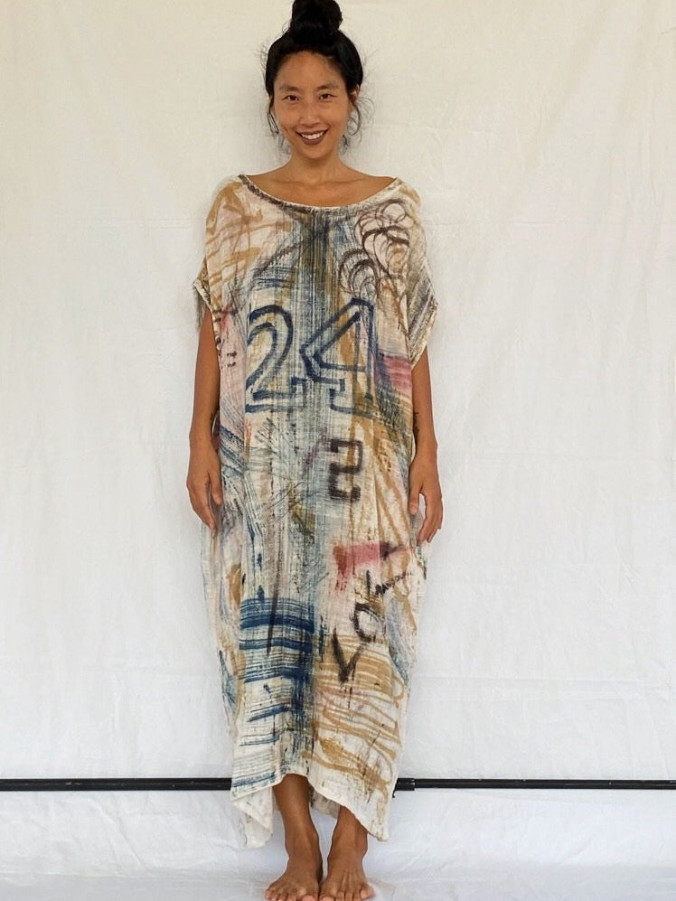 Olia Graffiti Handcrafted Dress - Not Just Numbers (Maxi)