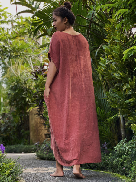 Olia Handcrafted Dress - Rustic Coral (Maxi)