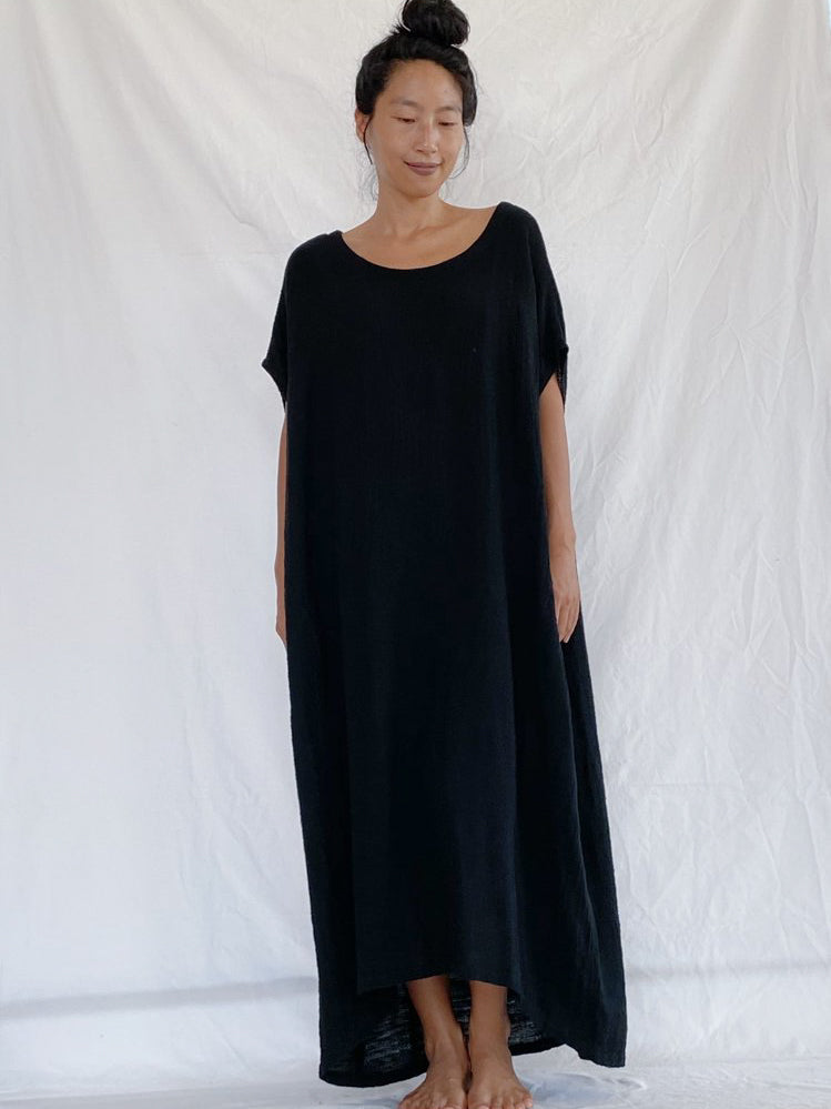 Olia Handcrafted Dress - Rustic Black (Maxi)