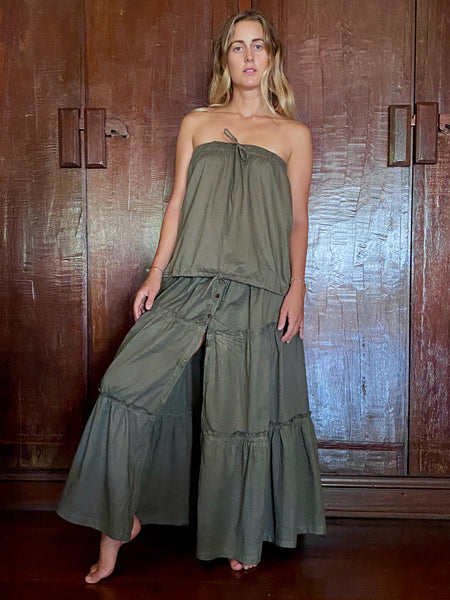 Anika Plant Dyed Organic Cotton Tiered Skirt - Down to Earth
