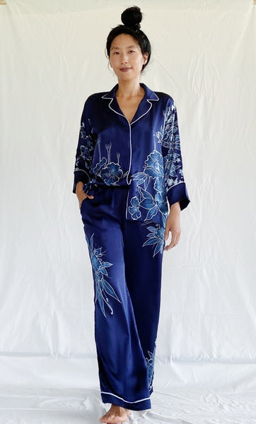 Ratna Silk Happy Helping Pajamas - Batik-Handpainted with Eco Dyes