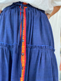 Anika Indian Sari Cotton Tiered Skirt - Blue