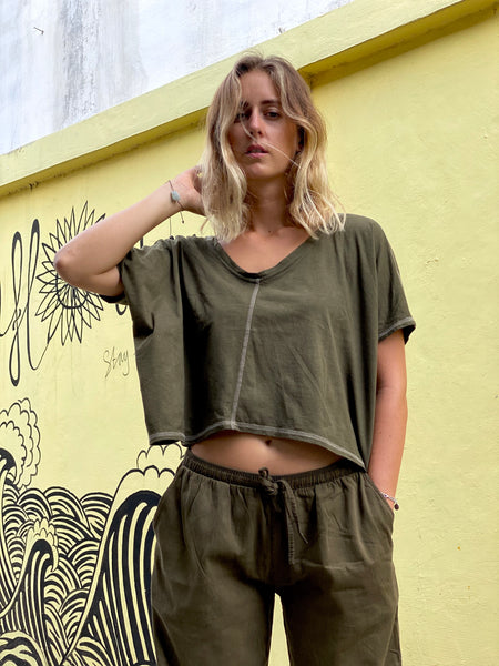 Sari Plant Dyed Organic Cotton Shirt - Cropped