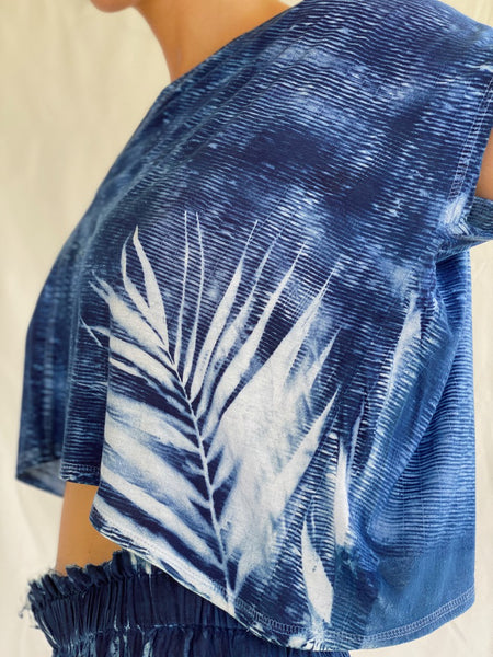 Sari Palm-Print Organic Cotton Shirt - Cropped