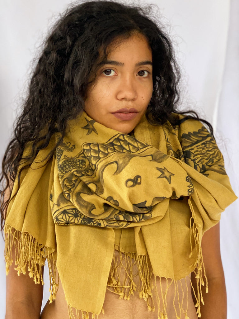 Dragon Handpainted Plant Dyed Scarf - Gold