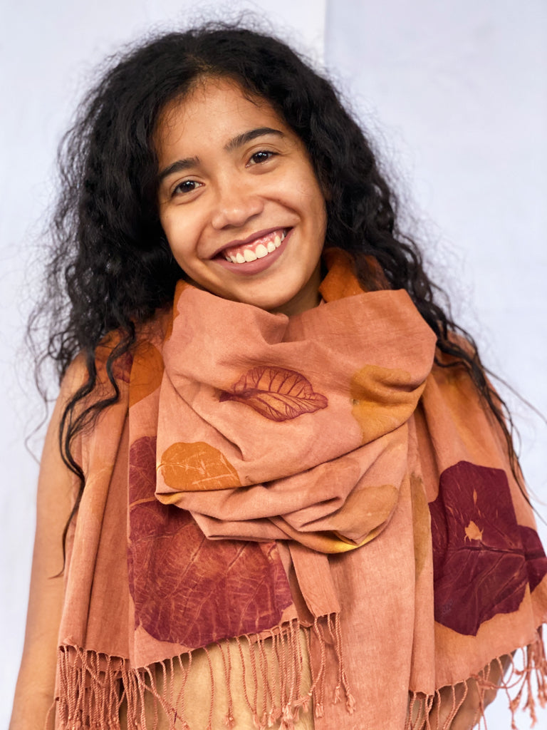 Agnes Eco-Printed Handwoven Scarf - Swirl