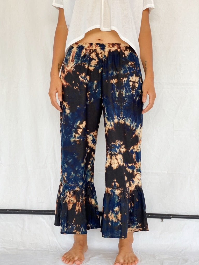 Stephanie Hemp Plant Dyed Pants - Muddy Swirl