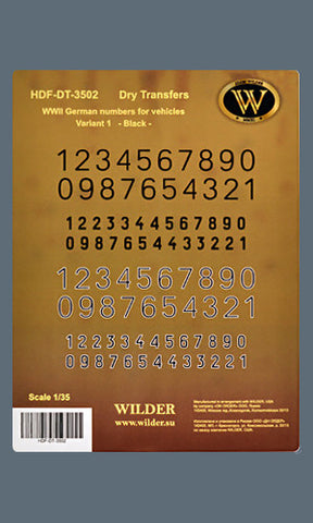 HDF-DT-3502 - WWII German numbers for vehicles. Variant 1. - Black