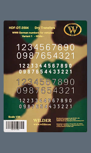 HDF-DT-3504 -  WWII German numbers for vehicles. Variant 1. - White