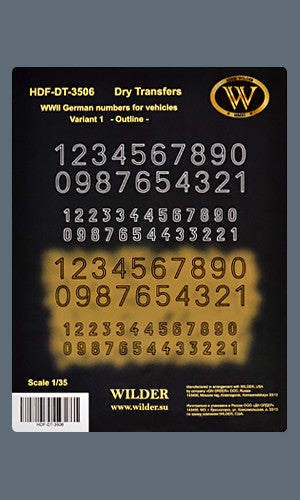 HDF-DT-3506 -  WWII German numbers for vehicles. Variant 1. - Outline