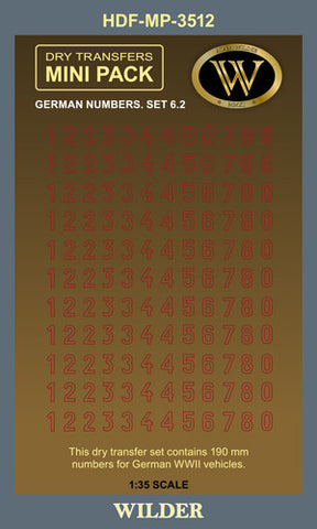 HDF-MP-3512 -  German Numbers. Set 6.2 - Red Outline