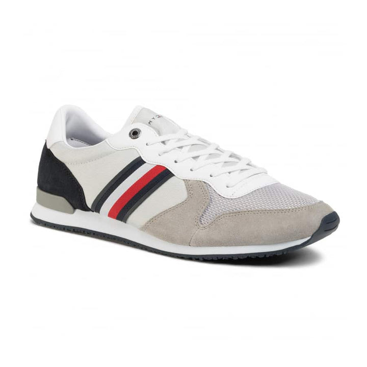 TOMMY HILFIGER ICONIC MATERIAL LACE UP RUNNER FM0FM02667 ANTIQUE SILVER