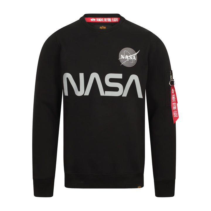 ALPHA INDUSTRIES L/S NASA REFLECTIVE SWEATER 178309 BLACK