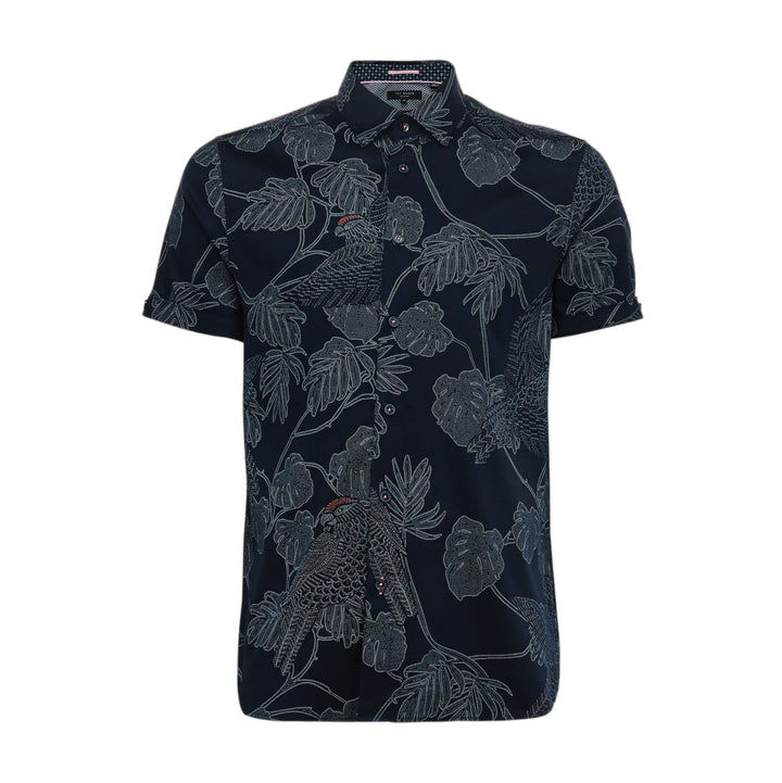 TED BAKER S/S PARROT AND LEAF PRINT SHIRT 241789 NAVY