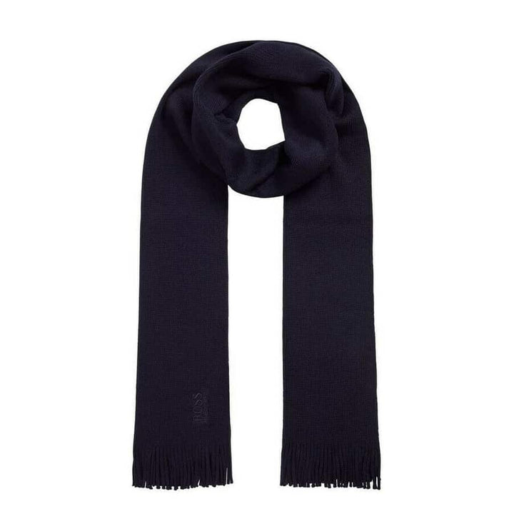 HUGO BOSS ALBAS-M LOGO BRANDED SCARF 50435349 DARK BLUE (402)