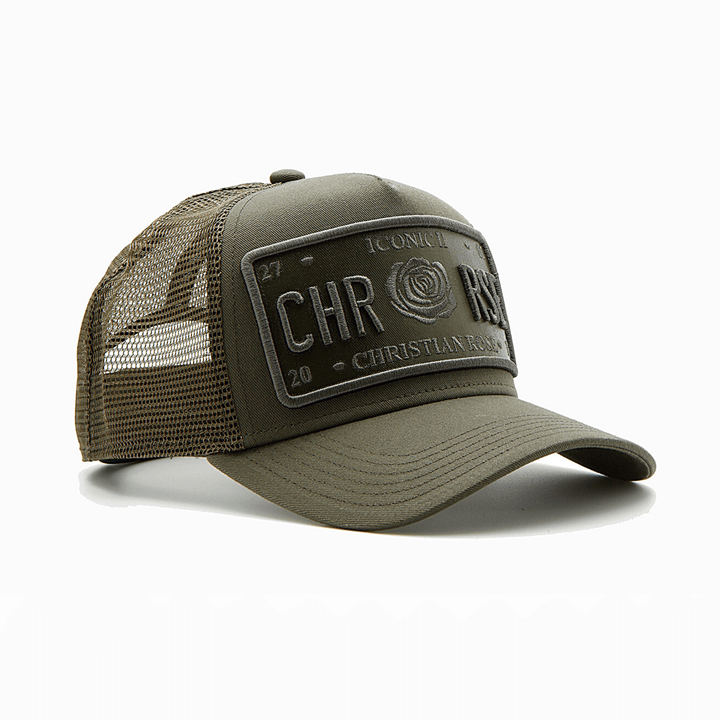 CHRISTIAN ROSE ICONIC VINYL PATCH CRO11 OLIVE