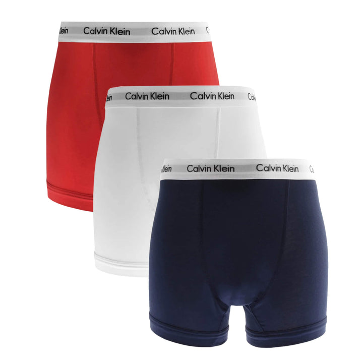 CALVIN KLEIN COTTON STRETCH 3 PACK FITTED TRUNK U2662G I03 (WHT/RED/NVY)