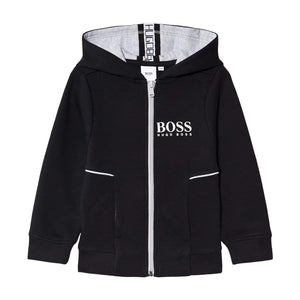 HUGO BOSS KIDS L/S LOGO BRANDED HOODY J25J09 BLACK