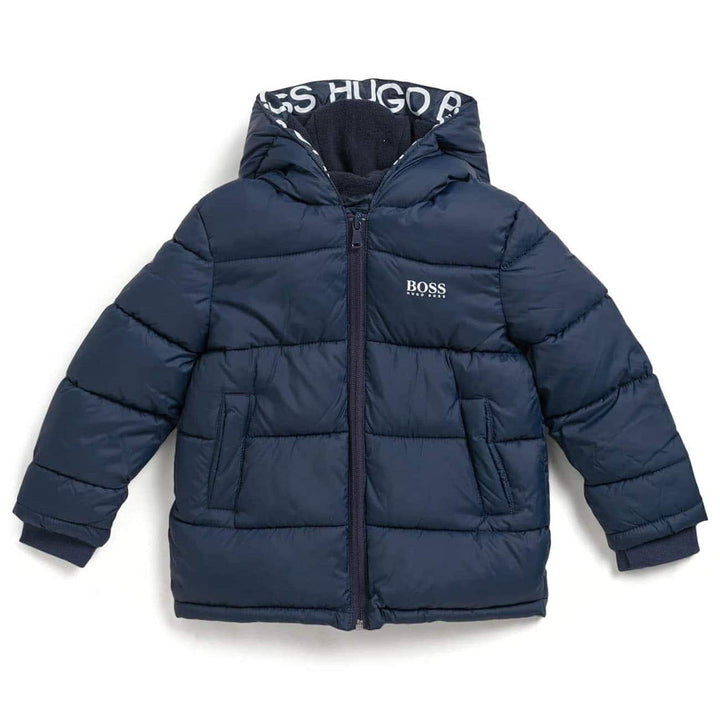 HUGO BOSS KIDS L/S LOGO BRANDED PUFFER JACKET J26417 NAVY