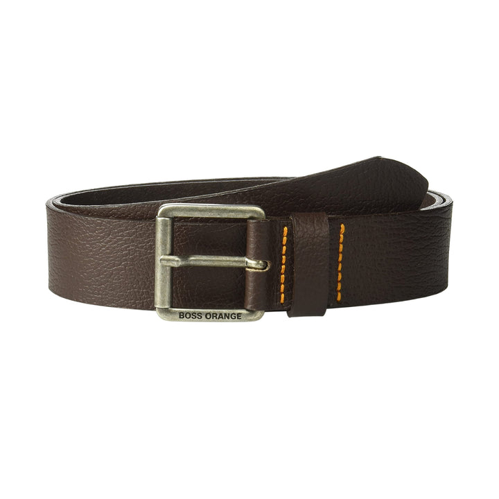 HUGO BOSS LOGO BRANDED LEATHER BELT 50370059 DARK BROWN