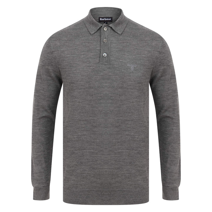 BARBOUR L/S MERINO POLO MKN1106 MID GREY MARL