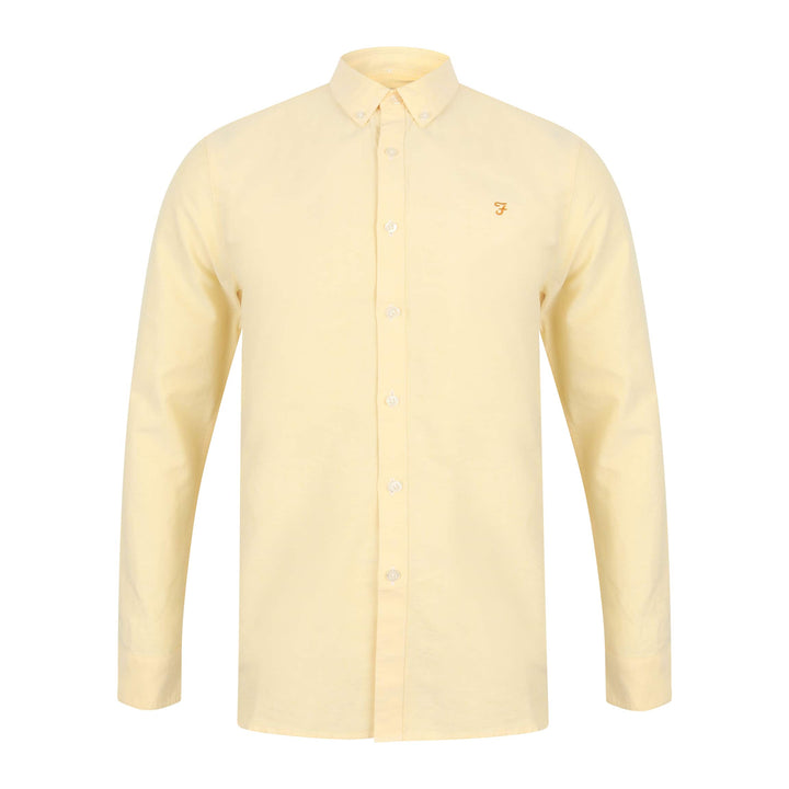 FARAH L/S BREWER FITTED SHIRT F4WF4054 ACID YELLOW