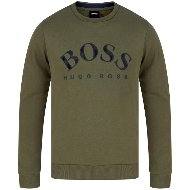 HUGO BOSS L/S SALBO LOGO BRANDED JUMPER 50430547 DARK KHAKI (305)