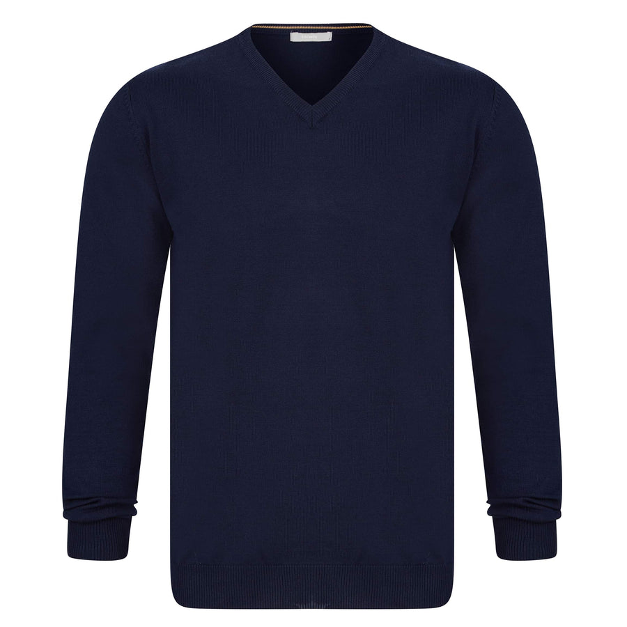 SSEINSE SCOLLO V FITTED V-NECK JUMPER MI1622SS NAVY (BY)